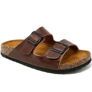 New Brown Band Open Toe Slip On Cork Slide Sandals